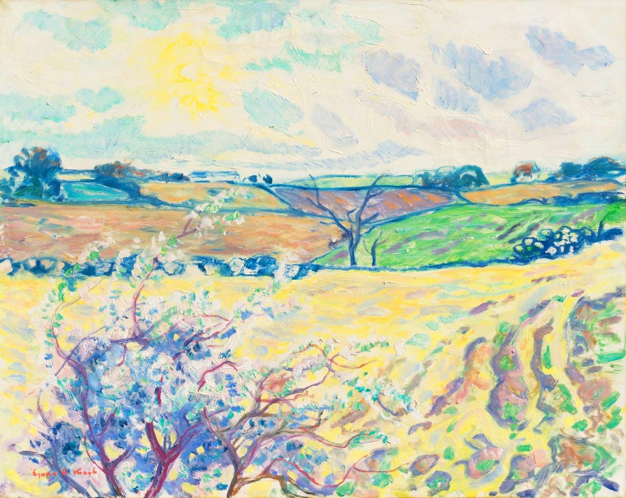 Ejnar R. Kragh Landscape Painting - Spring Landscape
