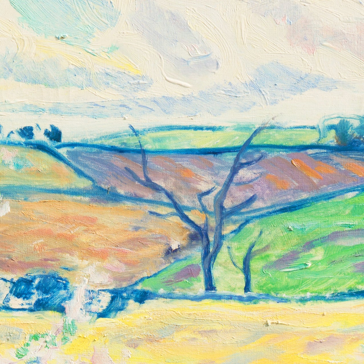 """Signed lower left, """"Ejnar R. Kragh"""" and painted circa 1945.   A substantial and period oil landscape showing a fruit-tree in blossom in the foreground and verdant fields receding towards rolling hills beneath sunlit turquoise and lavender clouds."""
