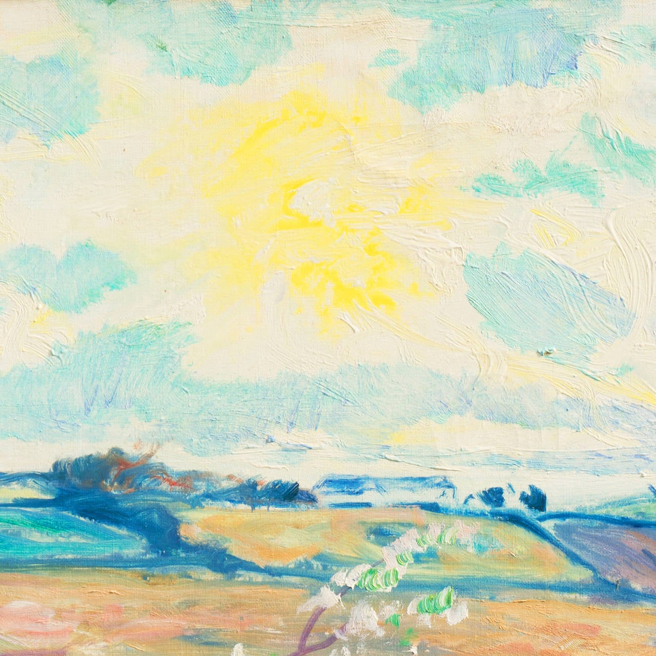 Spring Landscape - Beige Landscape Painting by Ejnar R. Kragh