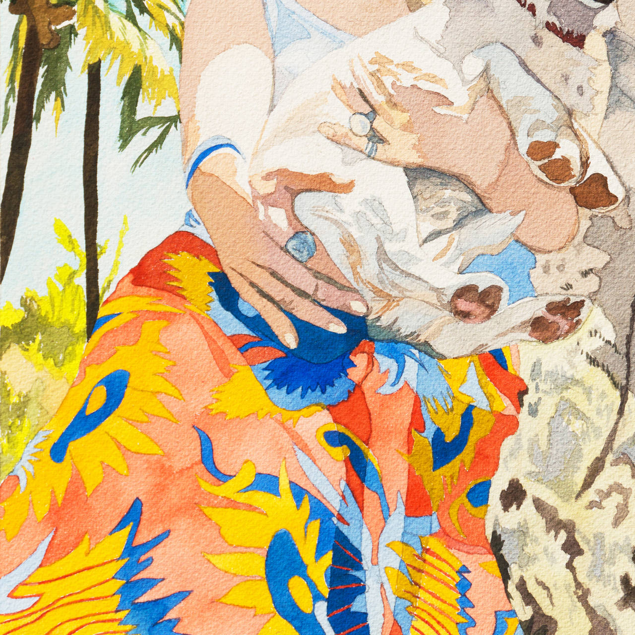 Signed lower right, titled lower left 'Julie and Barney', and dated 1972. Further inscribed, ';a.k.a. Irene Dogmatic'.  A  bright, figural watercolor showing a woman wearing sunglasses and a floral-print skirt and cradling a dog in her arms.  Mosen