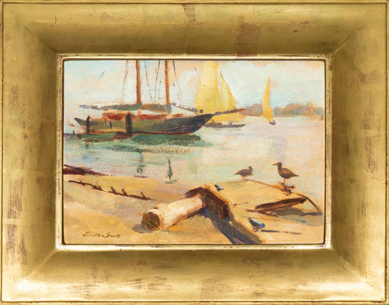 Post-Impressionist oil, 'Harbor Mist', Pasadena Art Museum, California