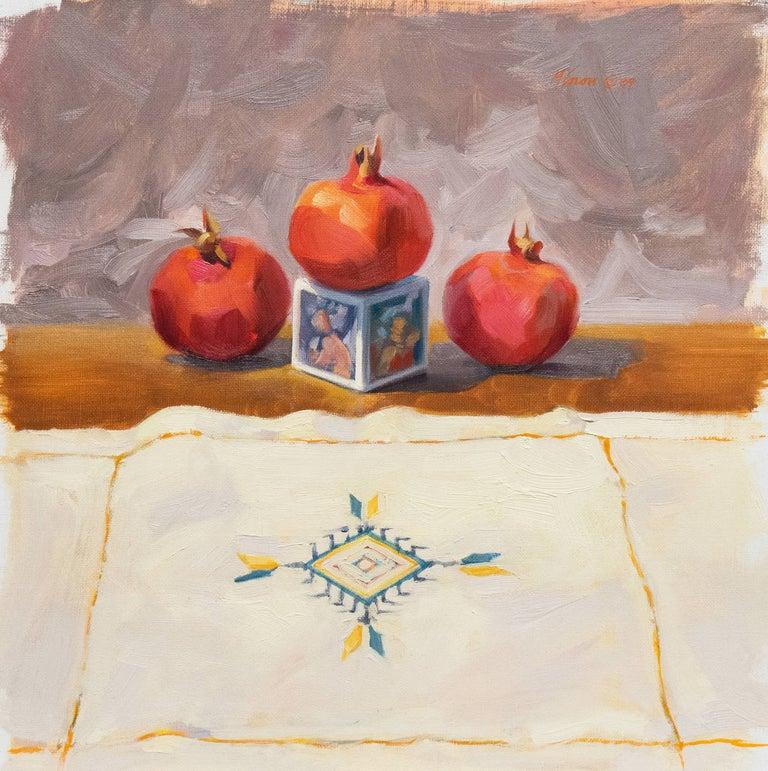 Carole Minou Still-Life Painting - 'Still Life with Pomegranates', California woman artist, Carmel Art Association
