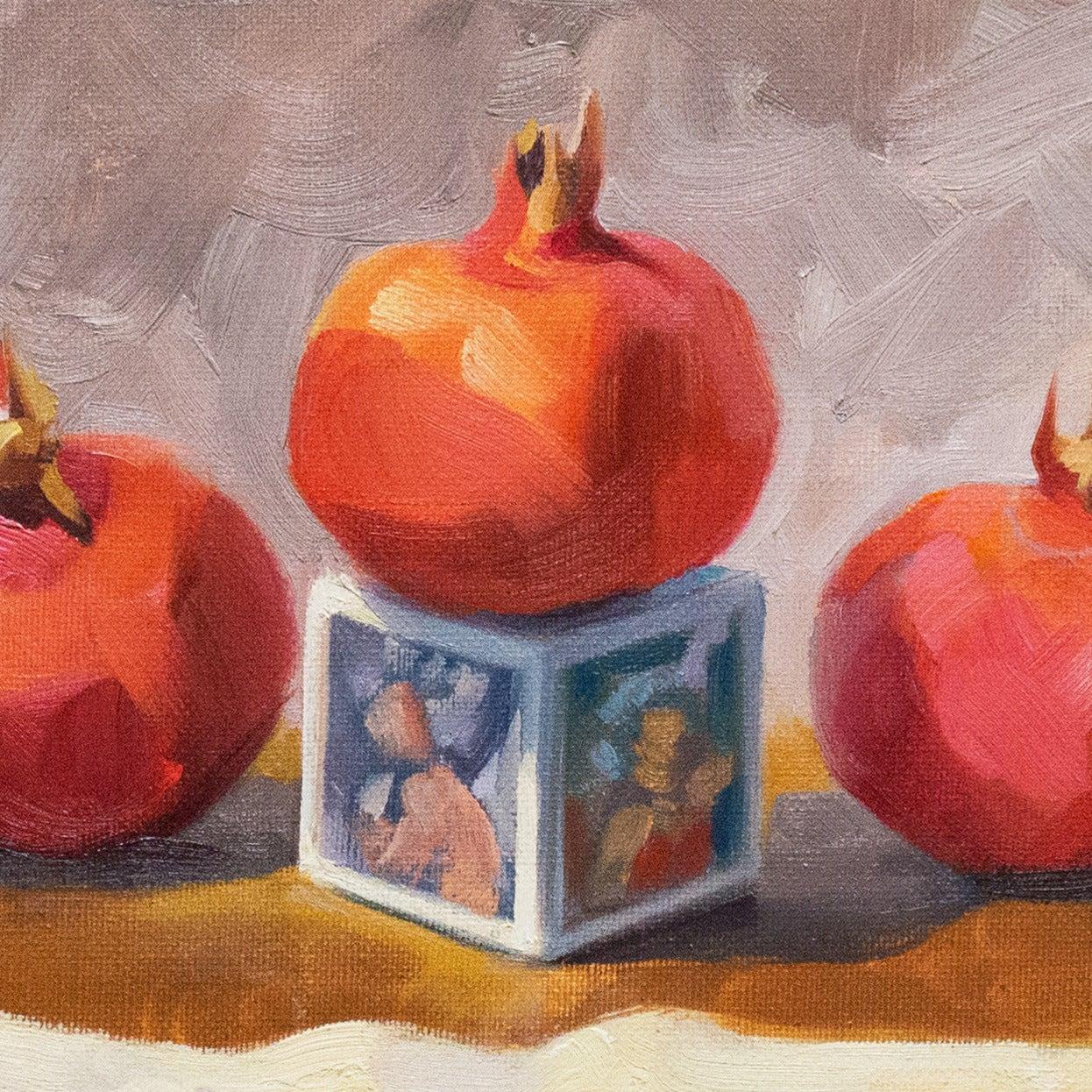 'Still Life with Pomegranates', California woman artist, Carmel Art Association - Impressionist Painting by Carole Minou
