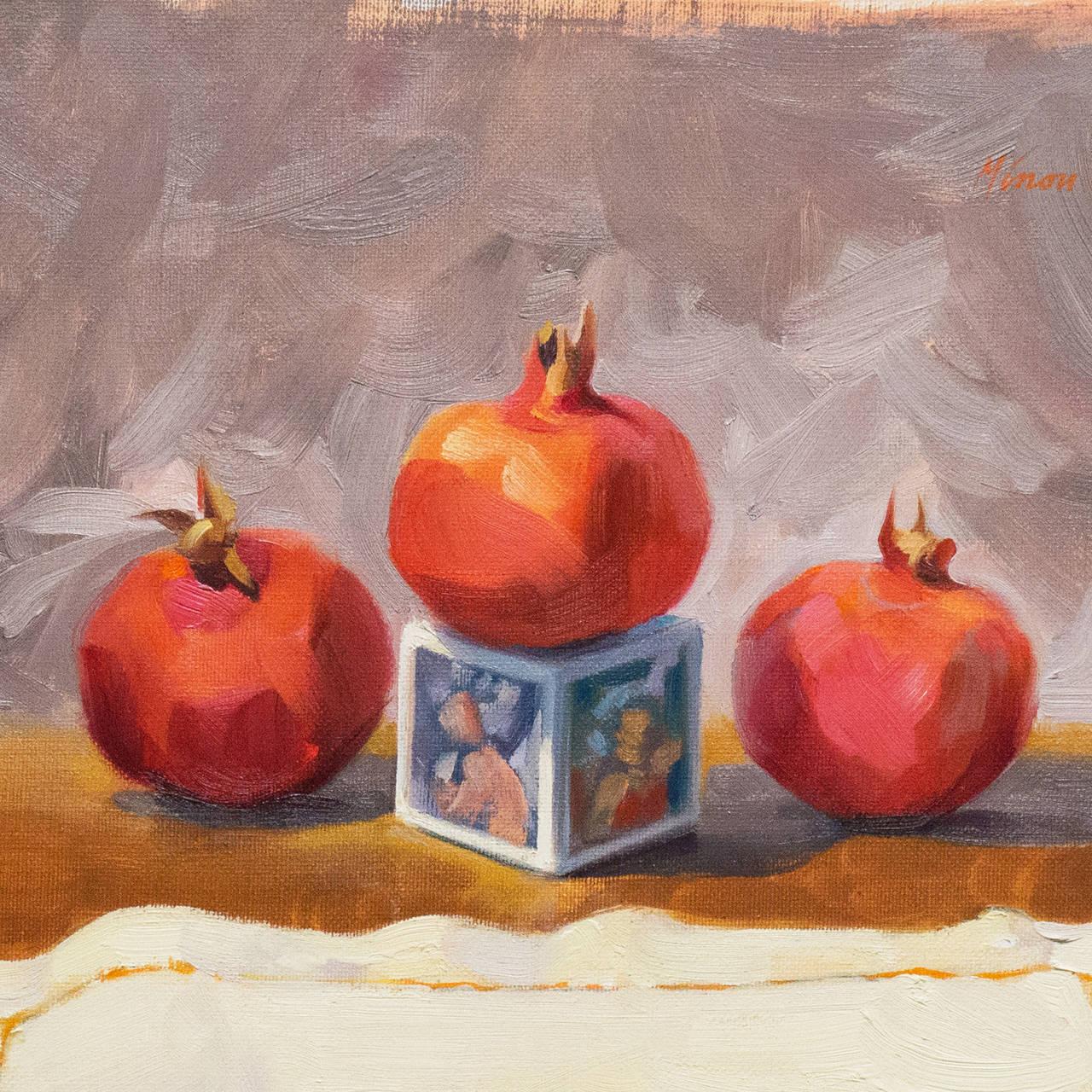 'Still Life with Pomegranates', California woman artist, Carmel Art Association - Painting by Carole Minou