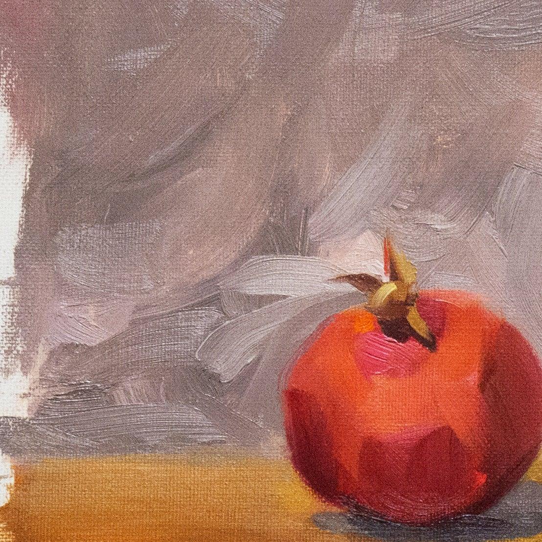 'Still Life with Pomegranates', California woman artist, Carmel Art Association - Red Still-Life Painting by Carole Minou