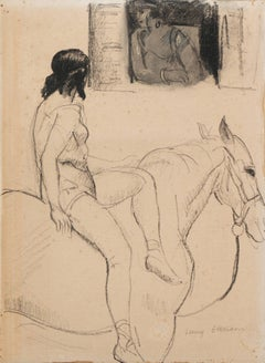 'Entente', French Post-Impressionist Equestrian Figural Drawing; Salon d'Automne
