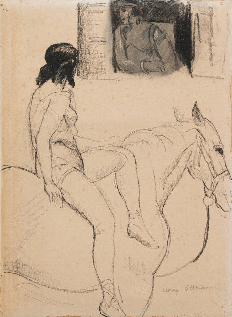 Henri Ottmann Figurative Painting - 'Entente', French Post-Impressionist Equestrian Figural Drawing; Salon d'Automne