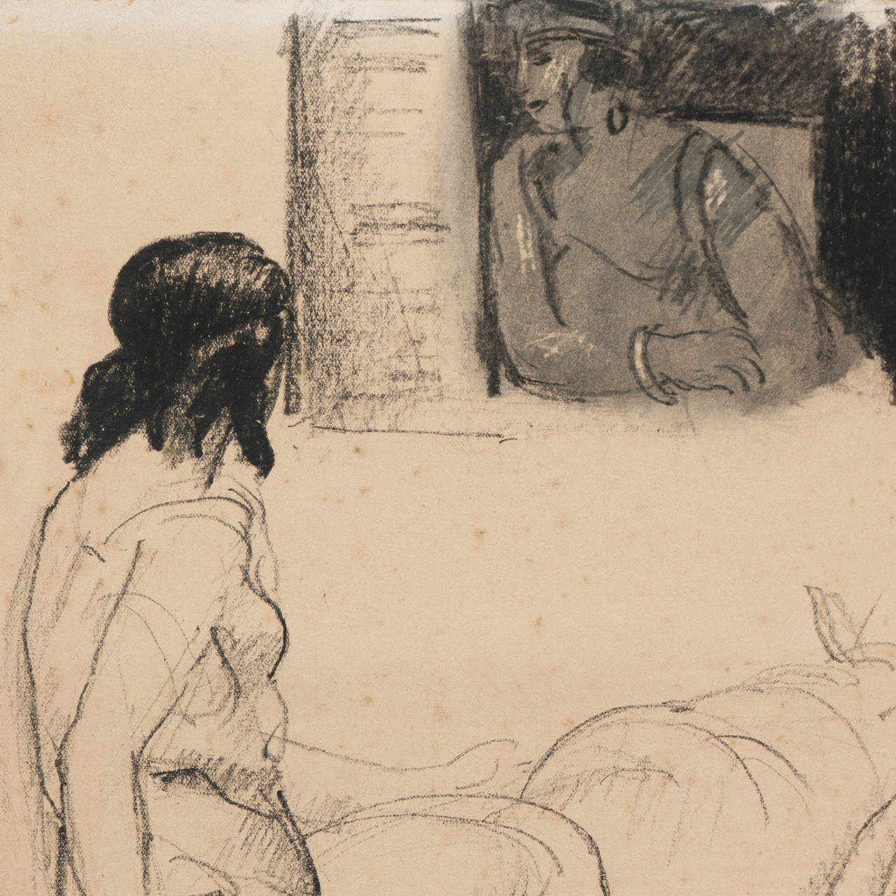 'Entente', Salon d'Automne, French Post-Impressionist Equestrian Figural Drawing For Sale 1
