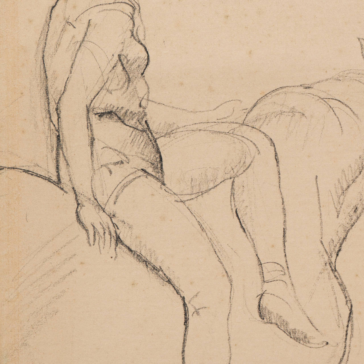 'Entente', French Post-Impressionist Equestrian Figural Drawing; Salon d'Automne For Sale 3