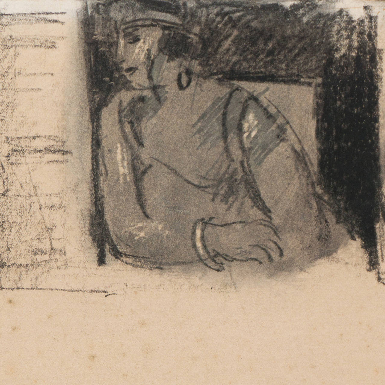 'Entente', French Post-Impressionist Equestrian Figural Drawing; Salon d'Automne For Sale 4