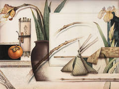 Still Life with Orchids and a Persimmon