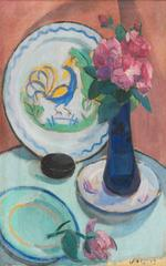 Roses with a Quimper Plate