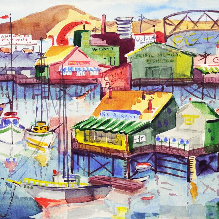 'Fisherman's Wharf, Monterey', Modernist California Artist, Crocker Art Museum - Gray Landscape Art by Muriel Backman