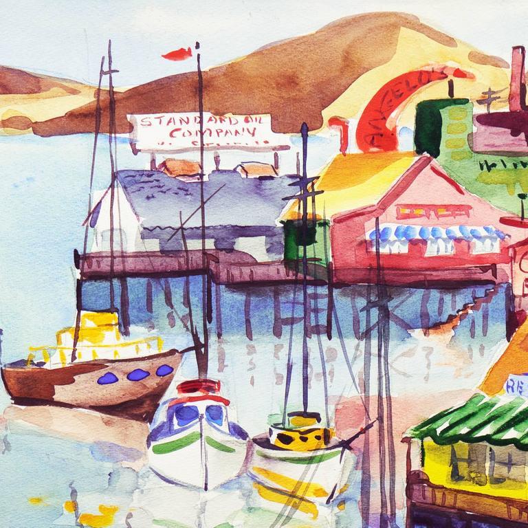 'Fisherman's Wharf, Monterey', Modernist California Artist, Crocker Art Museum For Sale 1