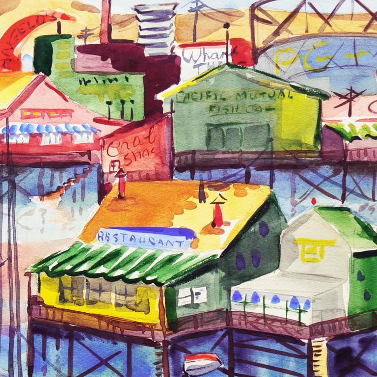 'Fisherman's Wharf, Monterey', Modernist California Artist, Crocker Art Museum For Sale 2