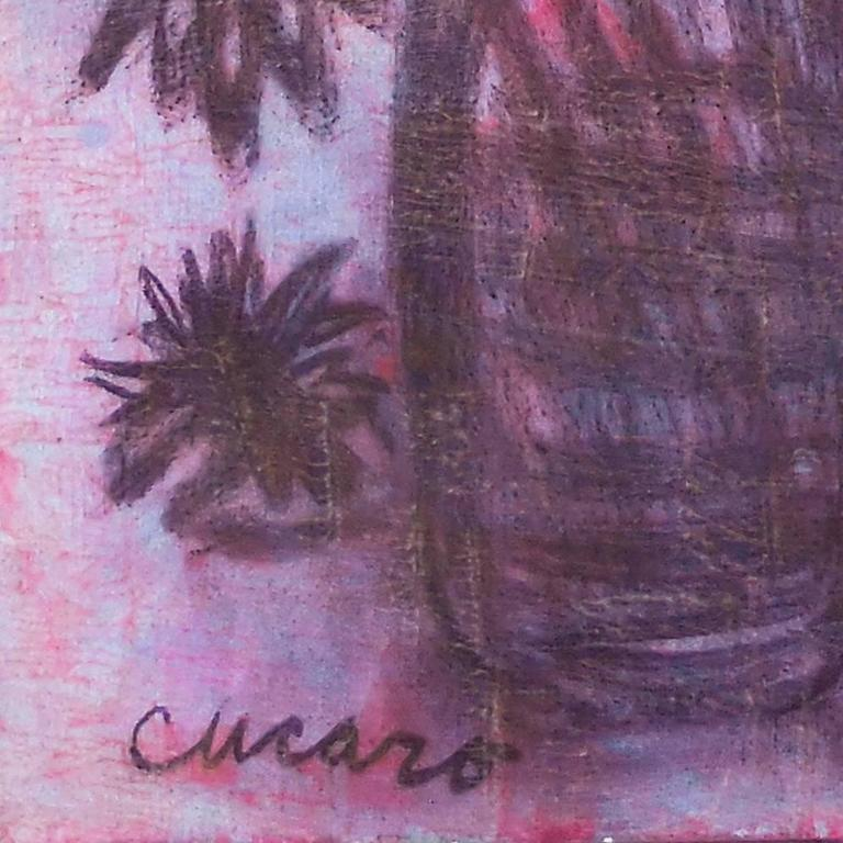 """Signed lower left, """"Cucaro"""", and painted circa 1965  A substantial Expressionist-style oil still-life showing a profusion of magenta blossoms in a glass vase contrasted against a pale-blue and lilac background. A beat-generation"""