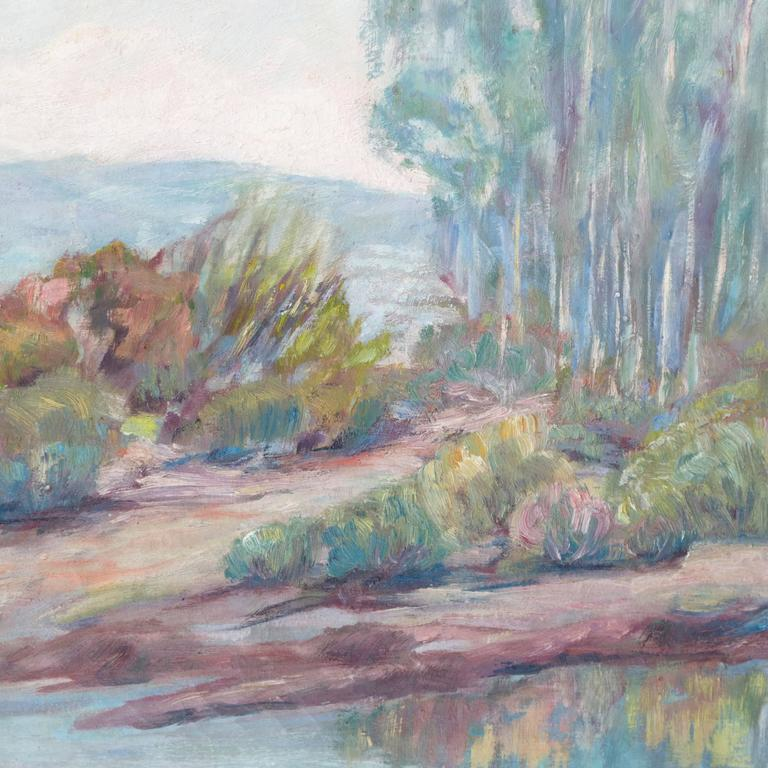 'River Landscape', American Impressionist, Carmel Art Association, Plein Air - Gray Landscape Painting by Mae Hill Gilbert