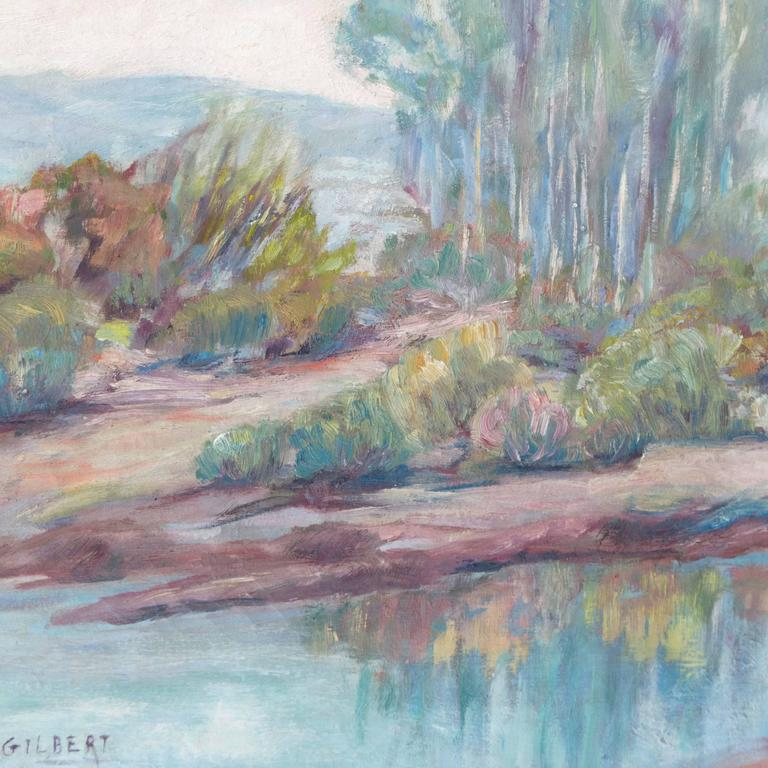 Impressionist-style California landscape with eucalyptus trees growing beside a river and a view beyond towards distant hills.    Signed lower left