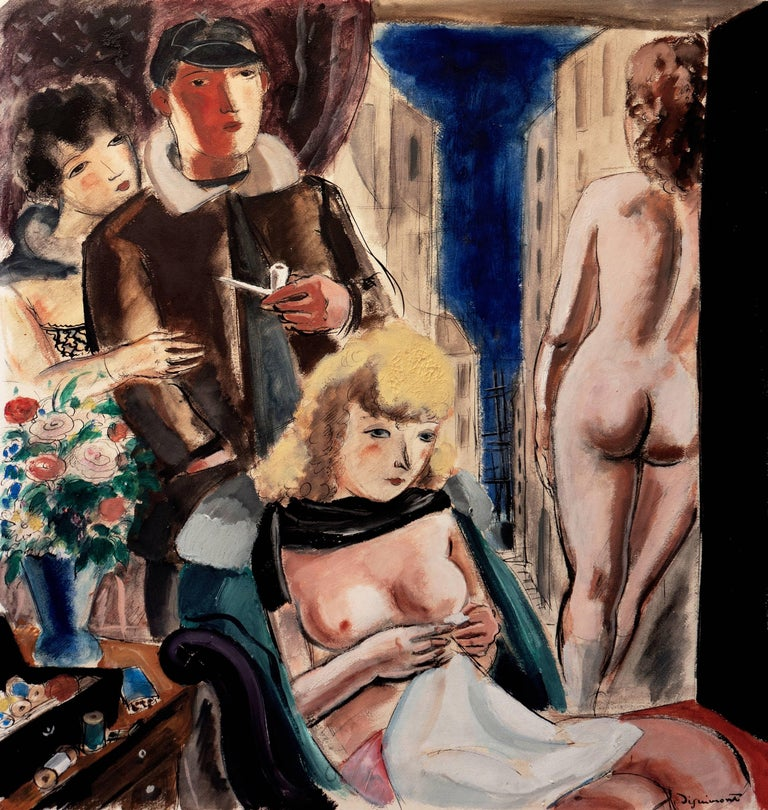 """Signed lower right, """"Dignimont"""" and painted on Arches Paper circa 1950.  A substantial, Mid-century interior with a man and three, variously robed, women engaged in a variety of pursuits. In the foreground, a seated nude attends to her sewing while"""