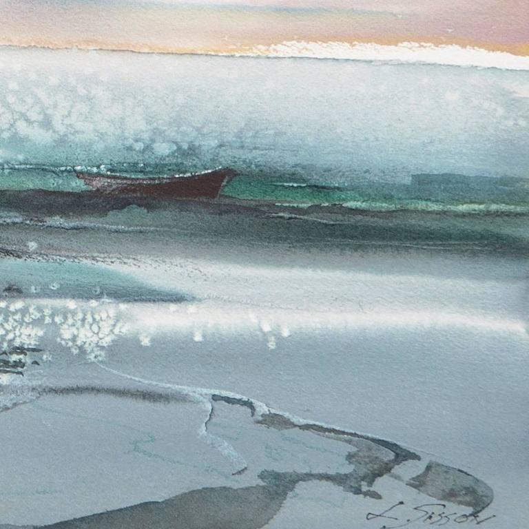 'Maine Coast', American Watercolor Society, Museum Fine Arts, Boston - Gray Landscape Art by Laurence Sisson