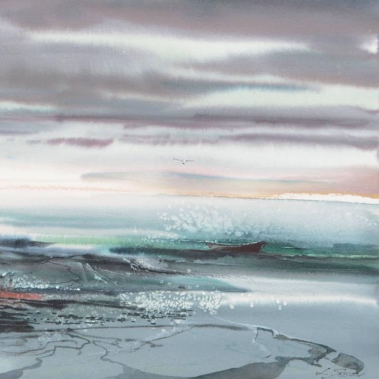 'Maine Coast', American Watercolor Society, Museum Fine Arts, Boston For Sale 2