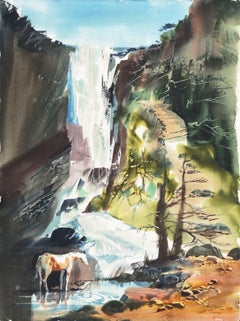 'Pony Drinking Beneath a Waterfall', American Watercolor Society, Maine