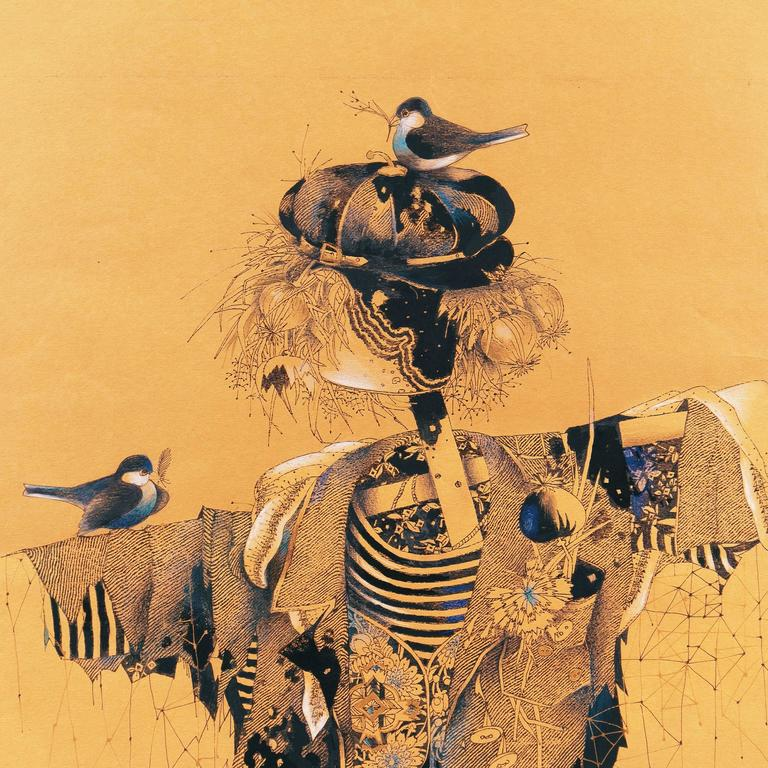 Scarecrow with Nesting Birds - Surrealist Art by Unknown