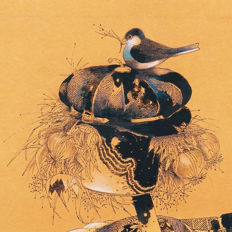 Scarecrow with Nesting Birds - Orange Portrait by Unknown
