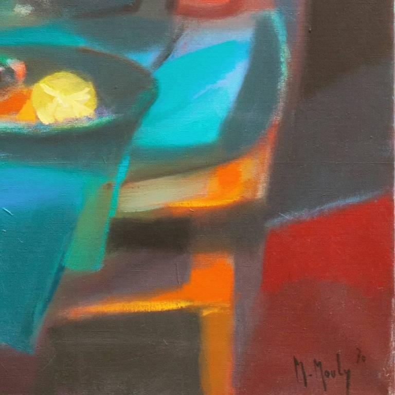 Nude in a Green Room - Painting by Marcel Mouly
