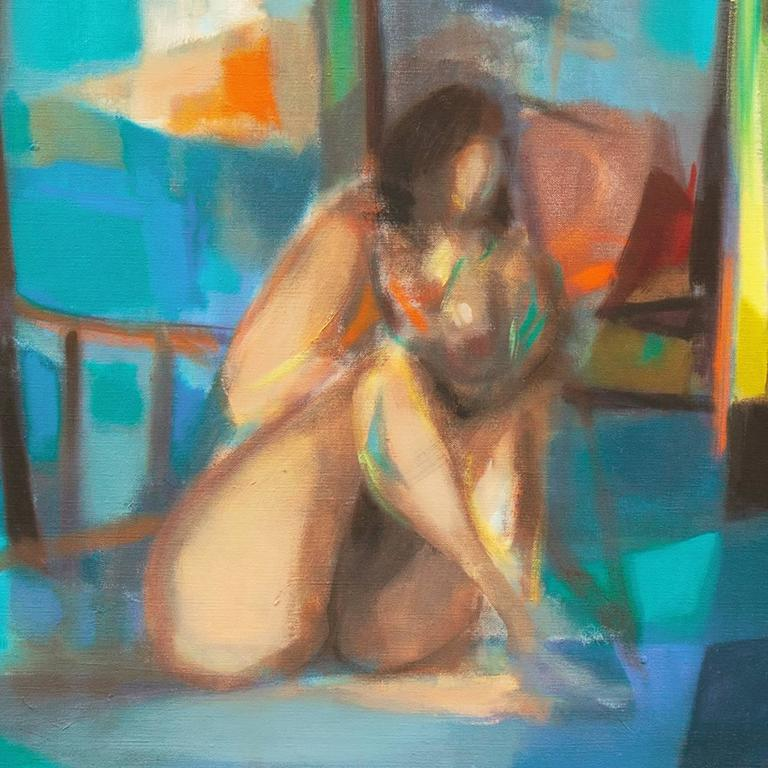 Nude in a Green Room - Gray Interior Painting by Marcel Mouly