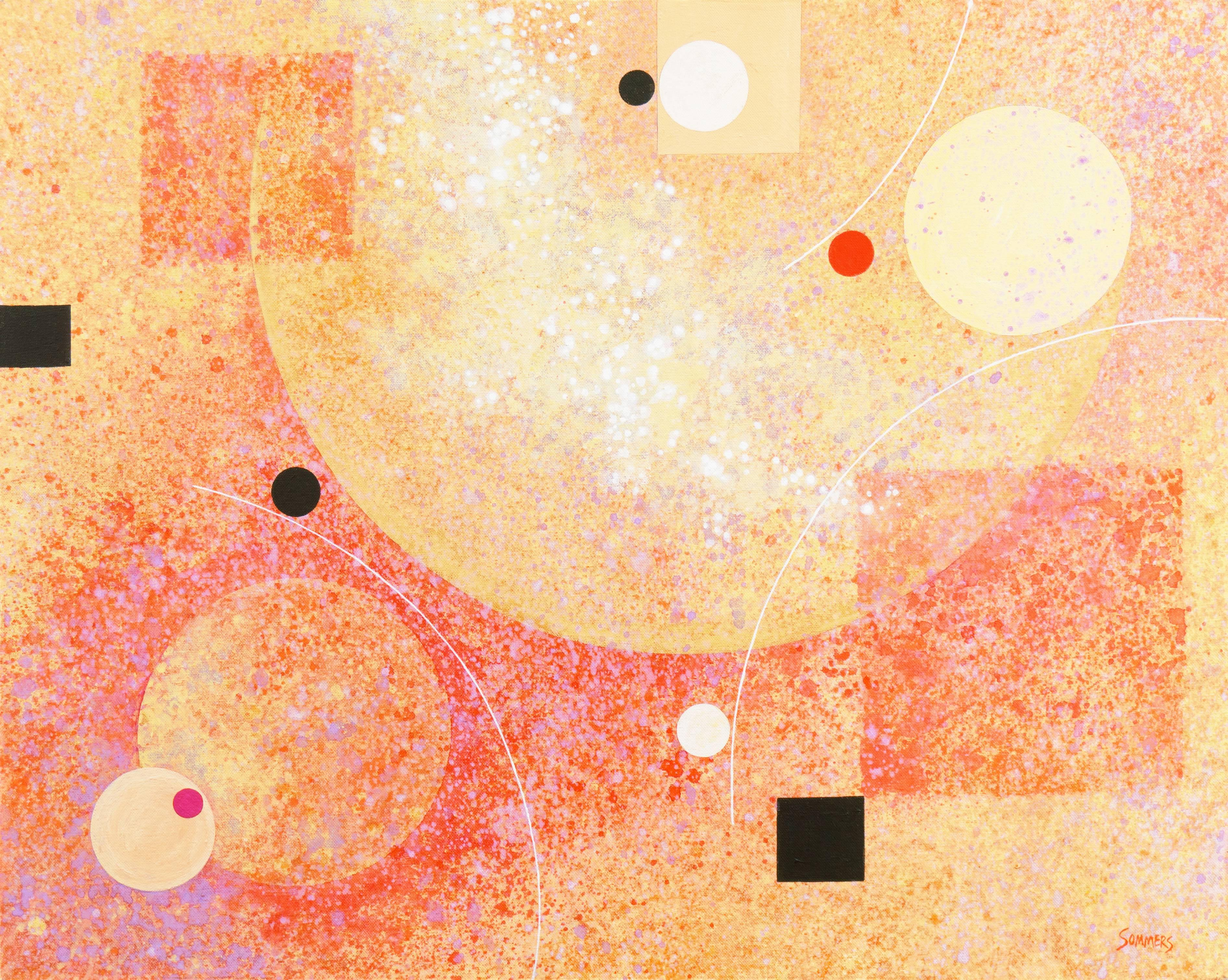 'Abstract in Coral and Gold'