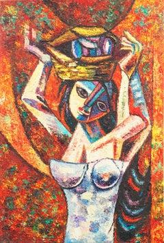 'Mango Seller', Expressionist Figural oil