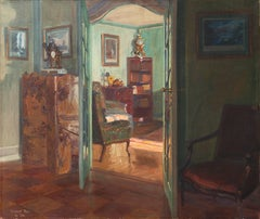 Sunlit Drawing Room   (Danish, Vermeer, Realism, blue-green, red-brown)