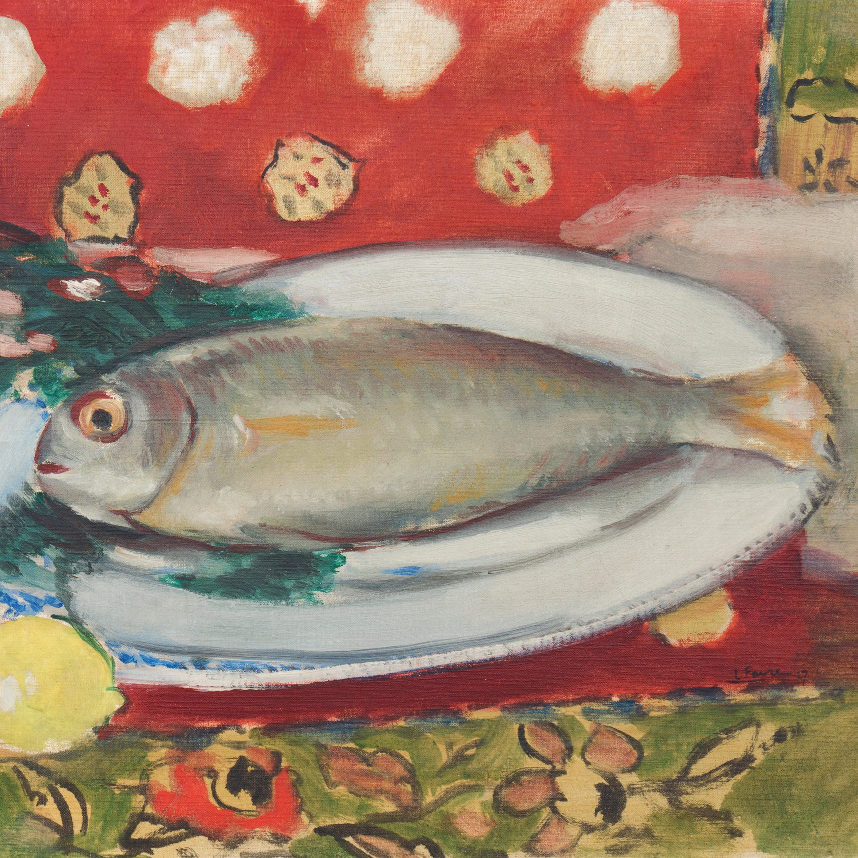 Louis Favre - Still Life with a Fish and Two Lemons, Painting For ...