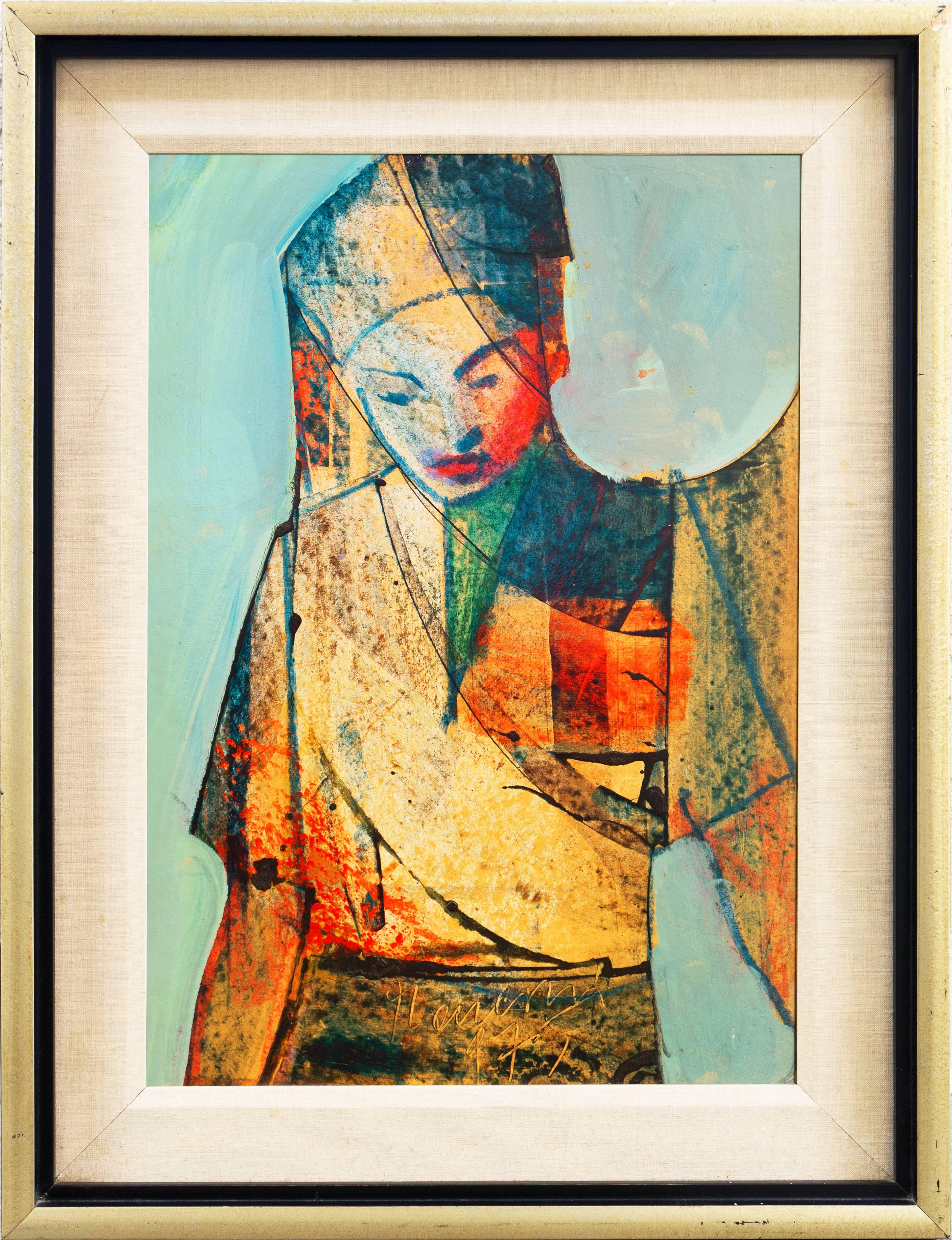 'Study of a Young Woman', Framed Modernist Oil