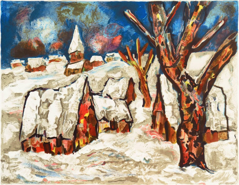 Henri d'Anty Landscape Print - French Post-Impressionist, 'Snow Covered Village', School of Paris
