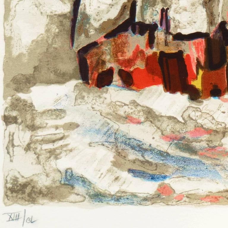 French Post-Impressionist, 'Snow Covered Village', School of Paris - Beige Landscape Print by Henri d'Anty