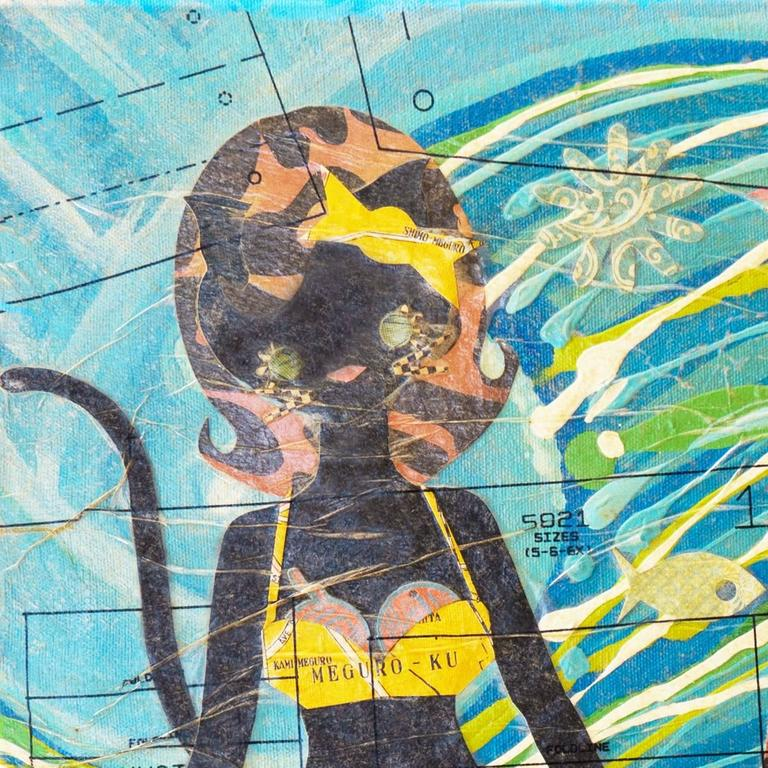 'Kitties at the Beach', Contemporary California artist For Sale 1