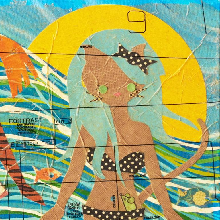 'Kitties at the Beach', Contemporary California artist For Sale 2