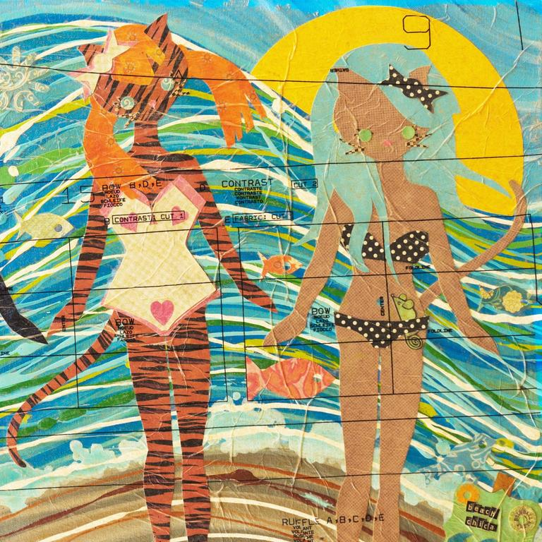 'Kitties at the Beach', Contemporary California artist For Sale 4