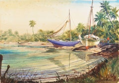 'Sailboats Drawn up in a Tropical Inlet', Florida