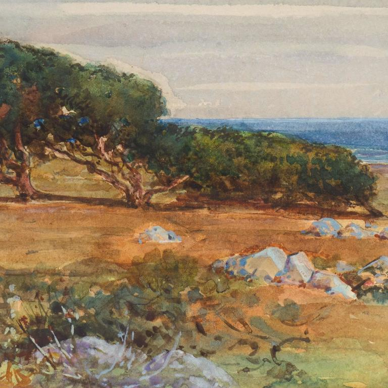 'Moss Beach, Monterey, California', Pacific Coastal Landscape, ASL NYC, Benezit - Brown Landscape Art by Elmer Wachtel