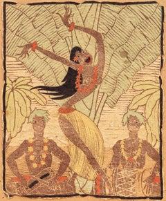 'Tahitian Dancer with Drummers', California Artist, Honolulu, Mexico, San Diego