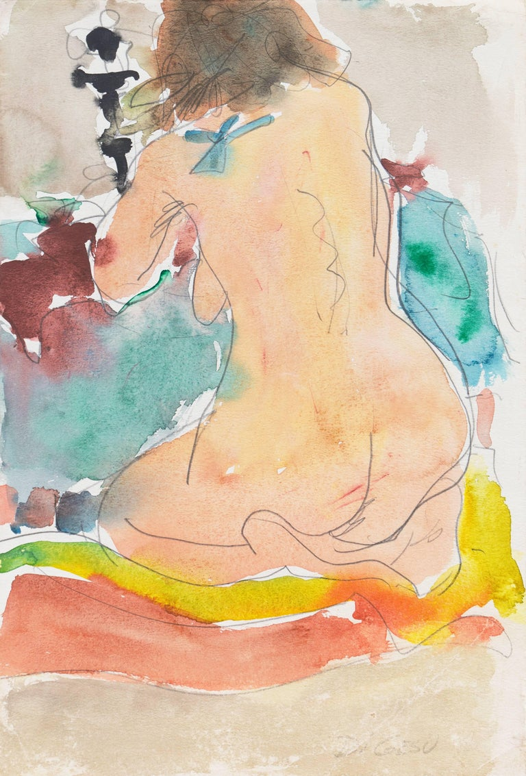 "Signed lower right, ""Di Gesu"" and painted circa 1955.  Watercolor nude showing a woman kneeling with her back to the viewer.  Winner of the Prix Othon Friesz, Victor di Gesu first attended the Chouinard Art School before moving to Paris where he"