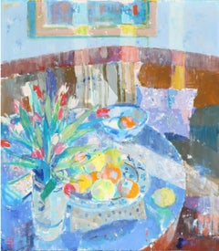Post-Impressionist Still Life of Tulips in a Sunlit Interior, Blue Room