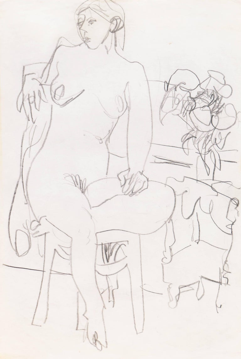 Stamped verso with Victor di Gesù Estate Stamp and created circa 1955.  Graphite nude showing a young woman seated on a chair, one leg tucked beneath her, with a vase of flowers resting on a small table beside her.  Winner of the Prix Othon Friesz,