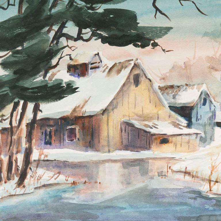 Barn in Winter - Gray Landscape Art by Gladys Louise Bowman Fies