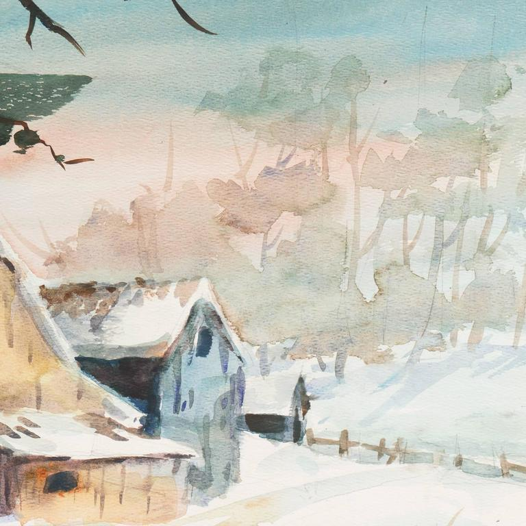 An elegant winter landscape watercolor showing a view of an old wooden barn and outbuildings beside a frozen pond.  Signed lower right 'Fies S.W.A.' and painted circa 1965.  This notable California painter was born in Texas and studied with Millard