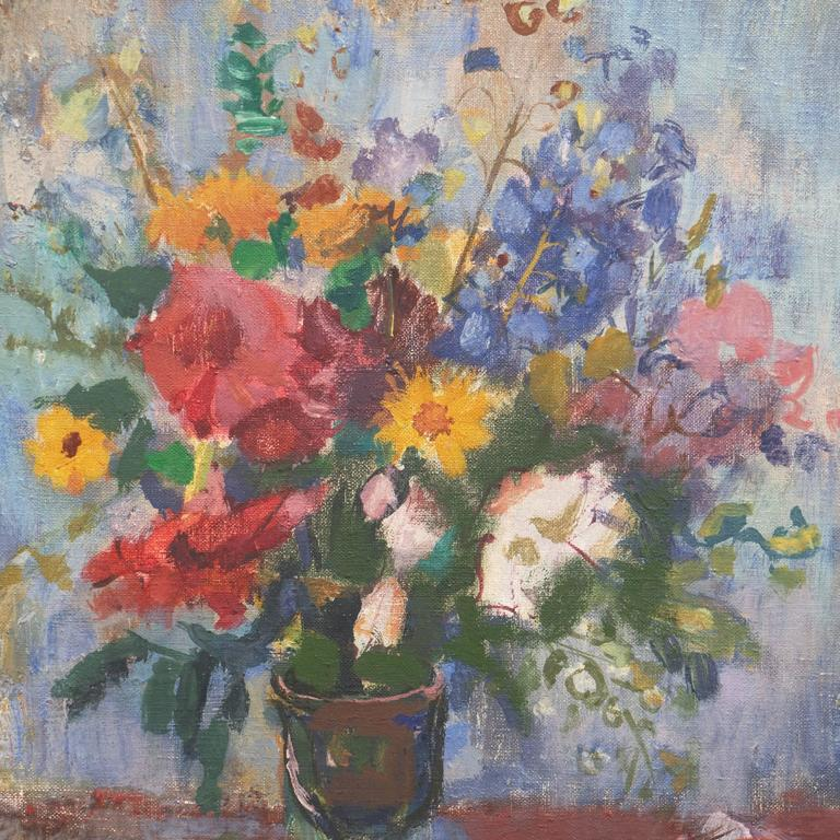 Still Life of Flowers   (Expressionism, Hungarian, Mid-Century) - Expressionist Painting by Bordas Ferenc