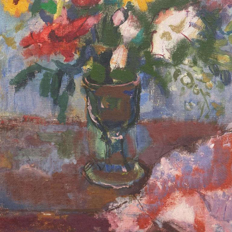 Still Life of Flowers   (Expressionism, Hungarian, Mid-Century) - Gray Still-Life Painting by Bordas Ferenc